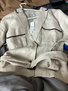Anne Taylor Loft Light Jacket With Belt. Brown And Tan Size 14