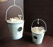 Birdhouses Lot Of 2 Sand Pails Hanging Decorative Tins With Shells On Top