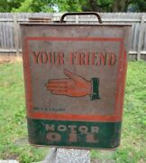 Rare Vintage Billups Your Friend Motor Oil 2 Gallon Metal Can Gas Station Sign