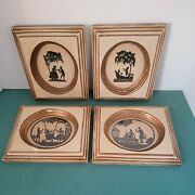 4 Vintage Colonial Silhouette Framed Pictures Lady And Gentleman Gilt Wood Frames