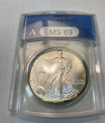 2002 American Silver Eagle Anacs Ms-69 Nicely Toned.