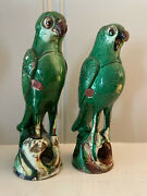 Antique Qing Chinese Pair Green Glazed Sanchi Parrot Incense Burners 9 + 8 1/2