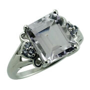 Solid 18k White Gold Casual Ring With Natural Pink Amethyst 4.56 Ct. Gemstone