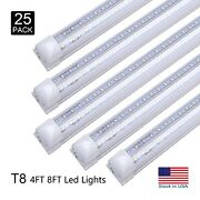 25x T8 Led Smd Shop Lights Fixture Double Row Integrated Bulbs Tubes 4ft 8ft Kit