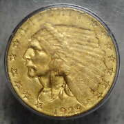 1929 2-1/2 Indian Quarter Eagle, Pcgs Ms-60 Rattler, Looks Like Today's 62