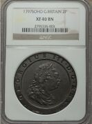 England George Iii 1797-soho Two Pence Copper Coin Certified Ngc Xf-40-bn