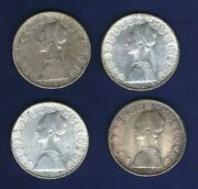 Italy 500 Lire Isabella And Columbus Silver Coins 1958, 1959, 1960, And 1961
