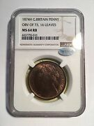 Great Britain Victoria 1874-h Penny Coin Uncirculated Certified Ngc Ms64-rb