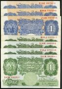 Great Britain Bank Of England Andpound1 1 Pound Banknotes Lot Of 7 Vf/xf