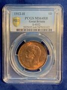 G.b./england George V 1912-h Penny Choice Uncirculated Certified Pcgs Ms-64-rb