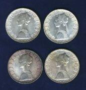 Italy 500 Lire Columbus Silver Coins 1958, 1959, 1960, And 1961, Uncirculated