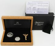 2012 Mexico Silver Libertad Proof 1oz And Uncirculated 1/2 Oz 2 Coin Set W/ Box