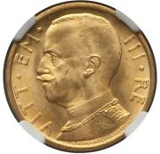 Italy 1931-r Yr. Ix 50 Lire Gem Uncirculated Gold Coin Ngc Certified Ms65