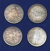 Germany Empire 1/2 Mark Silver Coins 1906-a, 1907-a-j, 1908-a, Lot Of 4