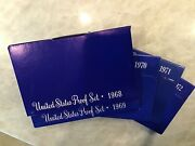 Lot Of 5 1968 To 1972proof Sets Us Mint, W/40 Silver Kennedy Half