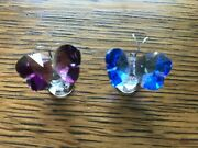 2 Iris Arc Crystal Miniature Butterfly Figurine Blue Purple With Boxes