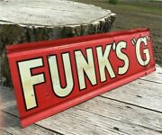 Funks G Hybrid 2 Sided Vintage Metal Advertising Sign, Rustic Seed Corn Sign E,
