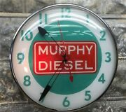 Murphy Diesel Engine Lighted Pam Clock, Vintage Advertising Sign, Bubble Glass,