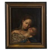 19th C. Italian School Madonna And Child  Oil Painting 28 X 24 Framed