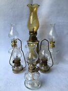 Vintage Kerosene Lanterns Oil Lamps Amber And Clear Glass Lot Of 6 Decor / Use