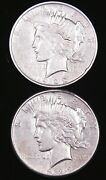 1922 D And S Peace Silver Dollar Lot Of 2 Coins In Saflip Bright With Luster G194