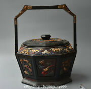 14 Old China Redwood Inlay Shell Dynasty Flower Bird Portable Food Box Cabinet