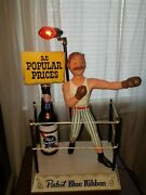 Vintage Pabst Blue Ribbon Display Metal Boxing Ring W/ Boxer And Beer Bottle Lamp