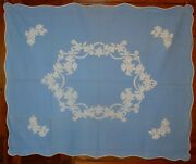 Pair 2 Antique Quilt Stunning Wedgwood Blue And White Floral Applique