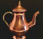 Vintage Solid Copper And Brass Teapot By Old Dutch International Odi Portugal