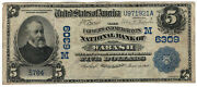 1902 5 Farmers National Banknote Wabash Indiana Discovery Date Back Very Fine