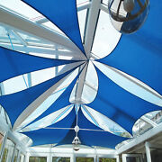 Blue 17 Ft Heavy Duty Steel Wire Cable Sun Shade Sail Canopy Patio Pool