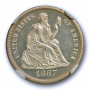 1867 10c Seated Liberty Dime Ngc Pf 65 Cam Proof Cameo Exceptional Coin