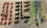 61 Pieces Of Vintage Cowboys And Indians With Horse's Marx Etc.