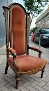 Antique Gothic Revival High Back Throne Church Arm Chair Faded Red Velvet 60