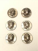 Liberty On 1964 Silver Quarter 3d Pop Push Punch Out Repousse Coin Lot Of 6