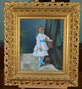Large Antique Frame Pastel Portrait Of Young Girl Unsigned