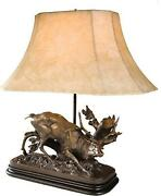 Table Lamp Rubbing Stag Deer Hand Painted Ok Casting Linen Shade Usa Made