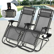 2 Zero Gravity Reclining Beach Chairs Camping Folding Lounge Pillows Cup Holder