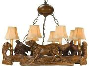Chandelier English Setter Quail Dogs Birds 3-light Faux Leather Shade Cast