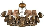 Chandelier Moose Heads 6-light Hand-cast Ok Casting Feather Pattern Shade