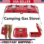 Alocs Camping Gas Stove Outdoor Picnic Cooking Heater Stove With Two Burner A8v6