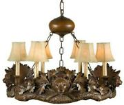 Chandelier Bear Heads 6-light Hand-cast Made In Usa Ok Casting Faux Leat