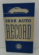 Vintage 1938 Auto Record Softback Small Booklet Pure Oil Advertisement