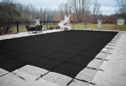Hpi Rectangle Black Mesh In-ground Swimming Pool Safety Cover W/ 4 X 8 End Step