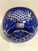"""Large Cobalt Blue Hand Cut To Clear Lead Crystal Bowl - Exquisite - 6.25"""" X 8"""""""