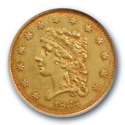 1834 2.5 Classic Head Quarter Eagle Ngc Au 58 About Uncirculated Early Gold Us