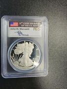 2013 W Proof Silver Eagle Pcgs Pr70 Dcam First Strike Mercanti Signed Flag Label