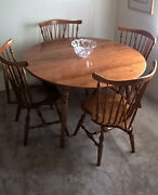 Ethan Allen Dining Table 4 Chairs American Traditional Maple/birch Honey Nutmeg