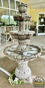Fountain Three-tier Cast Stone Lion Fountain Self-contained 56 Tall