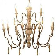 Large Chandelier 2-tier Hand-carved Turned Wood Old Gold Metal Arms